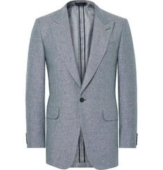 Dunhill - Blue Slim-Fit Slub Silk and Linen-Blend Blazer