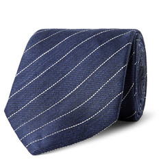 Dunhill - 7.5cm Striped Linen and Mulberry Silk-Blend Tie