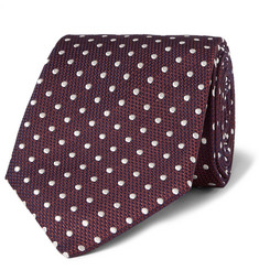 Dunhill 8cm Polka-Dot Mulberry Silk and Cotton-Blend Jacquard Tie