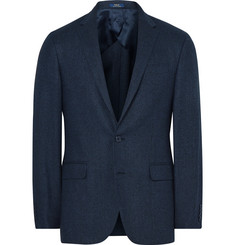 Polo Ralph Lauren Blue Slim-Fit Windowpane-Checked Wool and Silk-Blend Blazer
