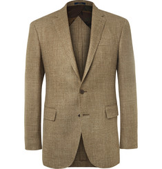 Polo Ralph Lauren Brown Slim-Fit Checked Silk, Linen and Wool-Blend Blazer