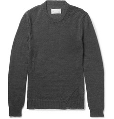 Maison Margiela Slim-Fit Distressed Mohair and Cotton-Blend Sweater