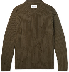 Maison Margiela Oversized Distressed Ribbed Wool Sweater