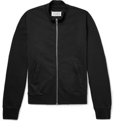 Maison Margiela - Leather Elbow-Patch Loopback Cotton-Jersey Zip-Up Sweatshirt