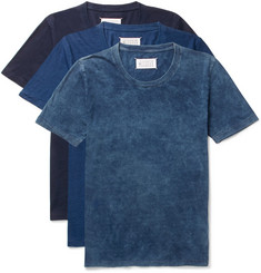 Maison Margiela Three-Pack Slim-Fit Indigo-Dyed Cotton-Jersey T-Shirts