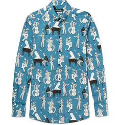 Dolce & Gabbana Slim-Fit Button-Down Collar Printed Cotton-Poplin Shirt