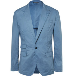 Dolce & Gabbana Blue Slim-Fit Garment-Dyed Cotton Blazer