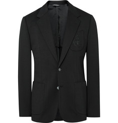 Dolce & Gabbana Black Slim-Fit Embroidered Stretch-Jersey Blazer