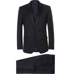 Dolce & Gabbana - Blue Slim-Cut Silk-Trimmed Virgin Wool-Blend Tuxedo