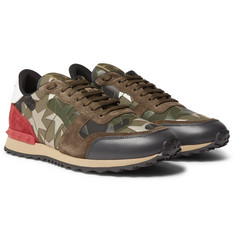 Valentino - Embellished Camouflage-Print Canvas, Leather and Suede Sneakers