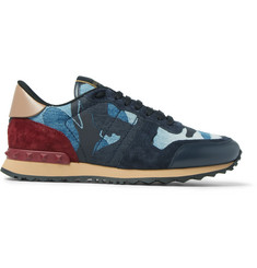 Valentino Denim, Suede and Leather Sneakers