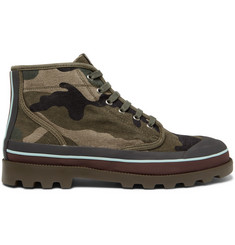 Valentino Camouflage-Print Canvas Boots