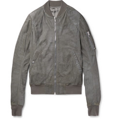 Rick Owens Flight Slim-Fit Blistered-Leather Bomber Jacket