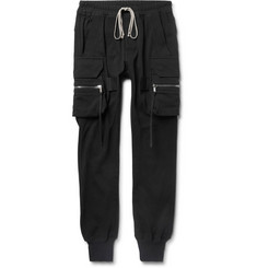 Rick Owens Slim-Fit Tapered Cotton-Jersey Cargo Sweatpants