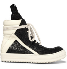 Rick Owens Geobasket Coated-Nubuck and Leather High-Top Sneakers