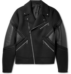 Neil Barrett - Leather-Panelled Bonded Jersey Biker Jacket