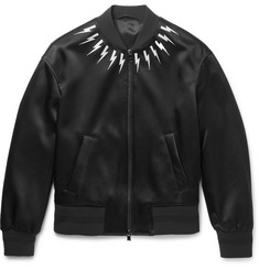 Neil Barrett Embroidered Satin Bomber Jacket