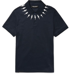 Neil Barrett - Slim-Fit Printed Cotton-Piqué Polo Shirt