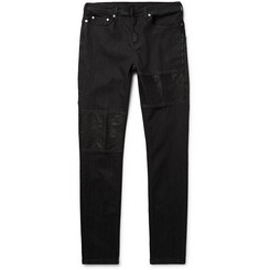 Neil Barrett Slim-Fit Leather-Panelled Stretch-Denim Jeans