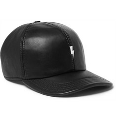Neil Barrett Embellished Leather Baseball Cap