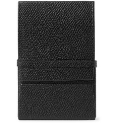 Valextra Pebble-Grain Leather Business Cardholder