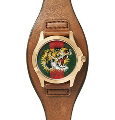 Gucci Le Marché Des Merveilles 38mm Gold-Tone and Leather Watch