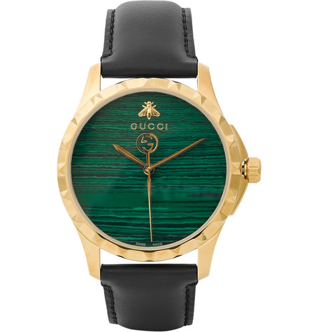 gucci male gucci gold pvdplated and leather watch black