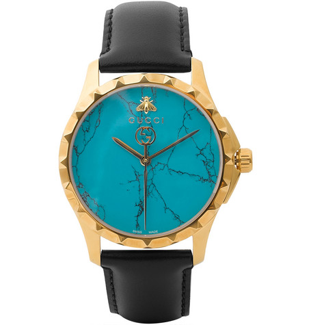 gucci male 188971 gucci gold pvdplated and leather watch black