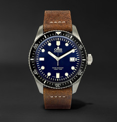 Oris Divers Heritage 65 Stainless Steel and Suede Automatic Watch