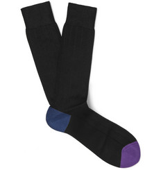 Paul Smith Colour-Block Ribbed Cotton-Blend Socks