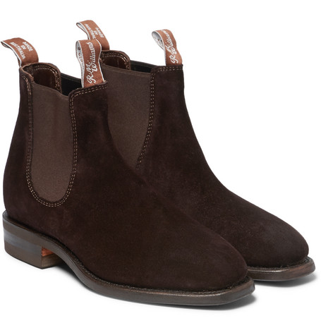 R.M.Williams Comfort Craftsman Suede Chelsea Boots - Chocolate