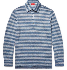 Isaia - Striped Knitted Slub Linen Polo Shirt