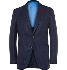 Isaia Blue Slim-Fit Wool, Silk and Linen-Blend Blazer