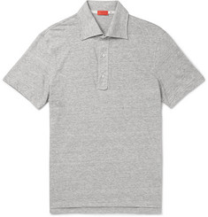 Isaia - Slim-Fit Space-Dyed Knitted Linen And Cotton-Blend Polo Shirt