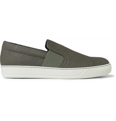 Lanvin Pebble-Grain Leather Slip-On Sneakers