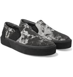 Lanvin - Rubber-Trimmed Printed Canvas Slip-On Sneakers