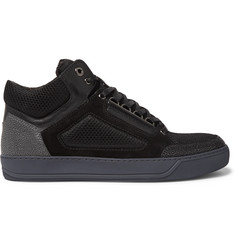 Lanvin Panelled Leather, Suede and Mesh High-Top Sneakers