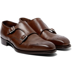 Kingsman - + George Cleverley Brogue-Detailed Leather Monk-Strap Shoes