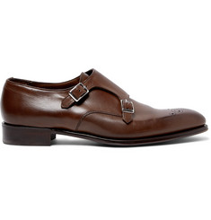 Kingsman + George Cleverley Brogue-Detailed Leather Monk-Strap Shoes