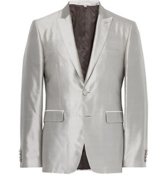Burberry Grey Slim-Fit Slub Silk Tuxedo Jacket