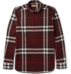 Burberry Slim-Fit Button-Down Collar Cotton-Flannel Shirt