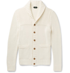 Incotex Shawl-Collar Ribbed Cotton Cardigan