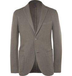 Incotex Green Slim-Fit Basketweave Cotton and Ramie-Blend Blazer