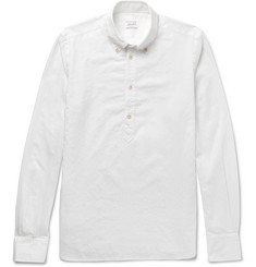 Incotex Slim-Fit Button-Down Collar Cotton-Jacquard Shirt