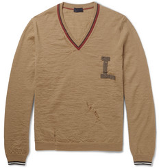 Lanvin Appliquéd Distressed Wool Sweater