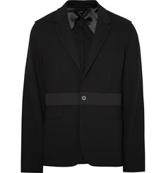 Lanvin Black Slim-Fit Wool-Trimmed Cotton-Piqué Blazer