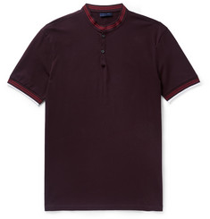 Lanvin Slim-Fit Grandad-Collar Cotton-Piqué Polo Shirt