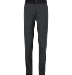 Lanvin - Slim-Fit Puppytooth Slub Wool and Silk-Blend Trousers