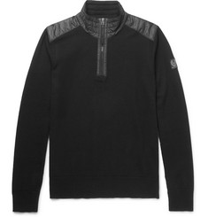 Belstaff Kilmington Quilted Shell-Trimmed Merino Wool Half-Zip Sweater