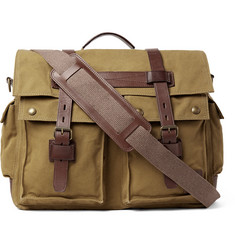 Belstaff Colonial Leather-Trimmed Cotton-Canvas Messenger Bag